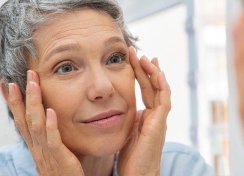 Woman with fine lines and wrinkles