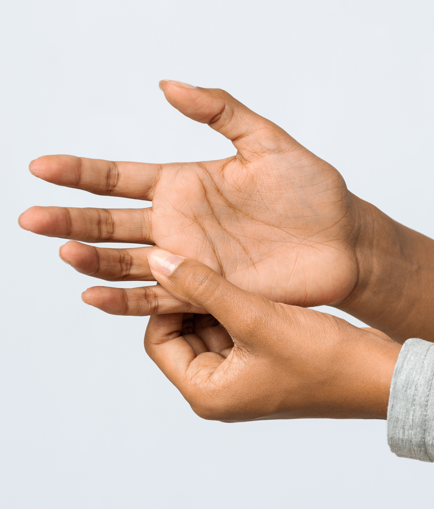 Muscle spasms in a woman's hand