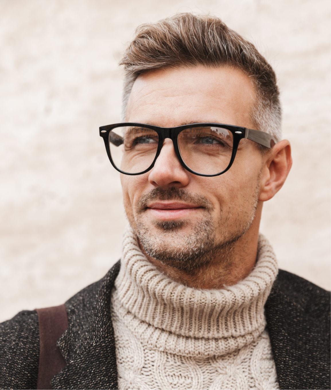 Fashionable man wearing glasses